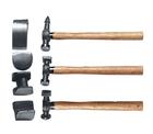 Набор рихтовочный, 3 молотка с деревянными ручками, 4 наковальни