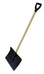 Лопата снегоуборочная, пластмассовая, 440x315 мм с накладкой, деревянный черенок, с ручкой