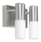Светильник галогенный для ванной комнаты. 2хG9, 25W,220V,  IP23, сталь, стекло.